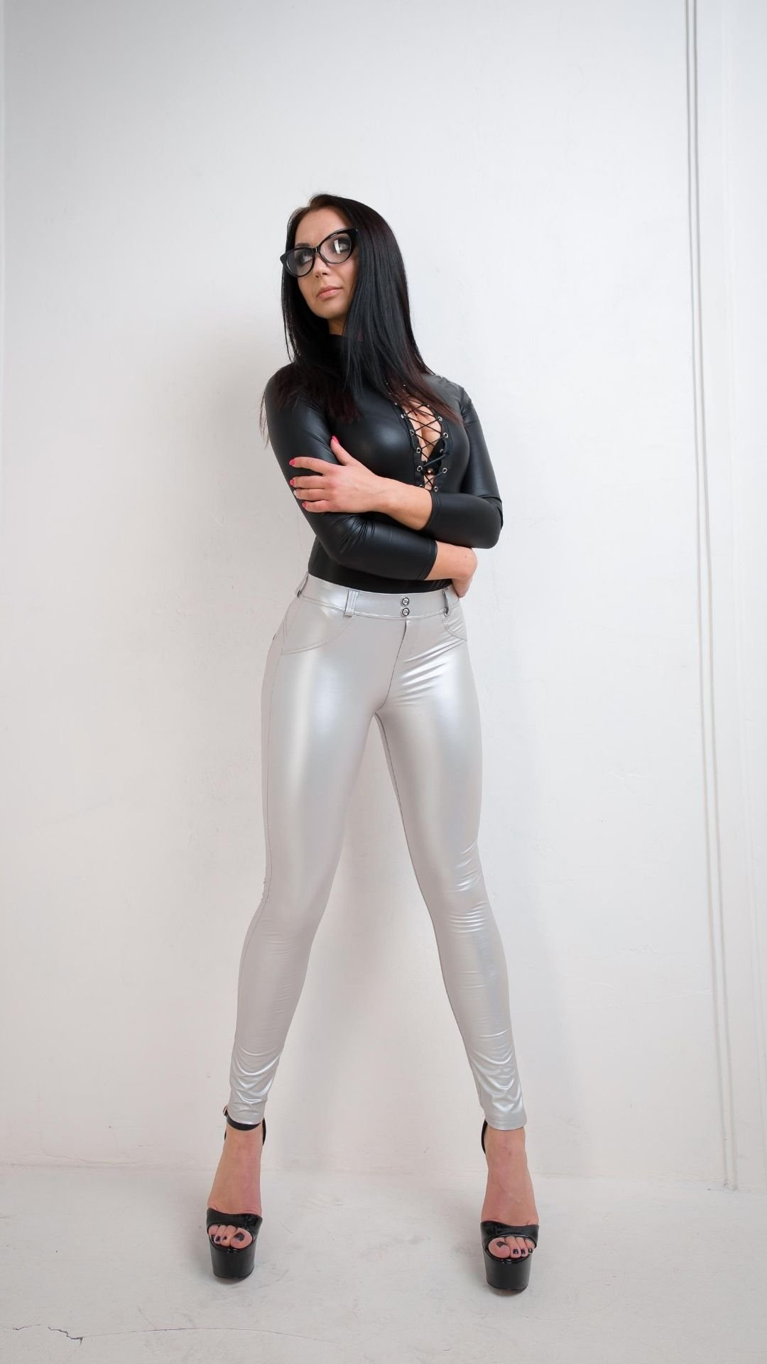 Push Up Leather Leggings Silver