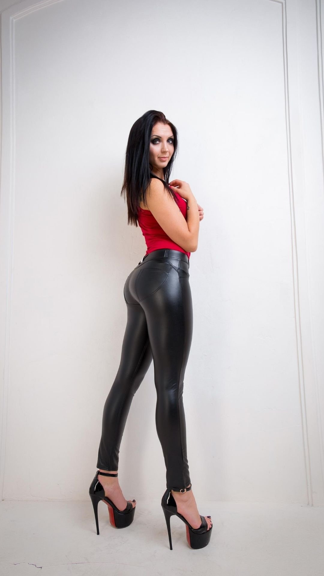 Push up Leather Leggings Black